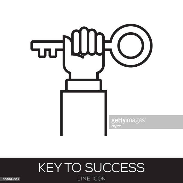 key to success line icon - retail employee stock illustrations
