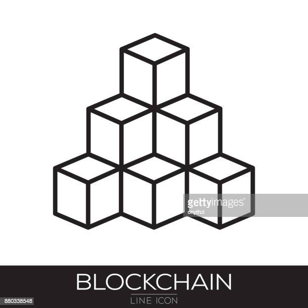 blockchain technology line icon - financial technology stock illustrations, clip art, cartoons, & icons