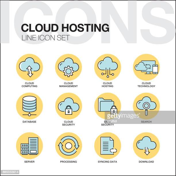 cloud hosting line icons set - access control stock illustrations, clip art, cartoons, & icons
