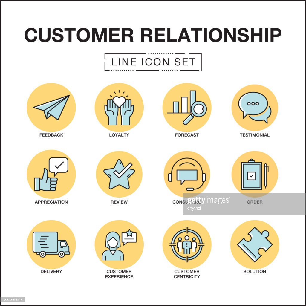 CUSTOMER RELATIONSHIP LINE ICONS SET : stock illustration