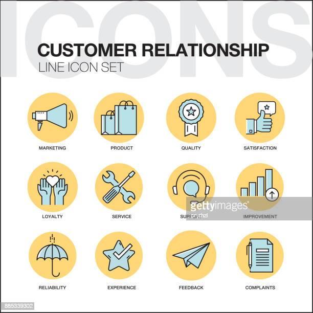 ilustraciones, imágenes clip art, dibujos animados e iconos de stock de al cliente relación iconos juego - lealtad