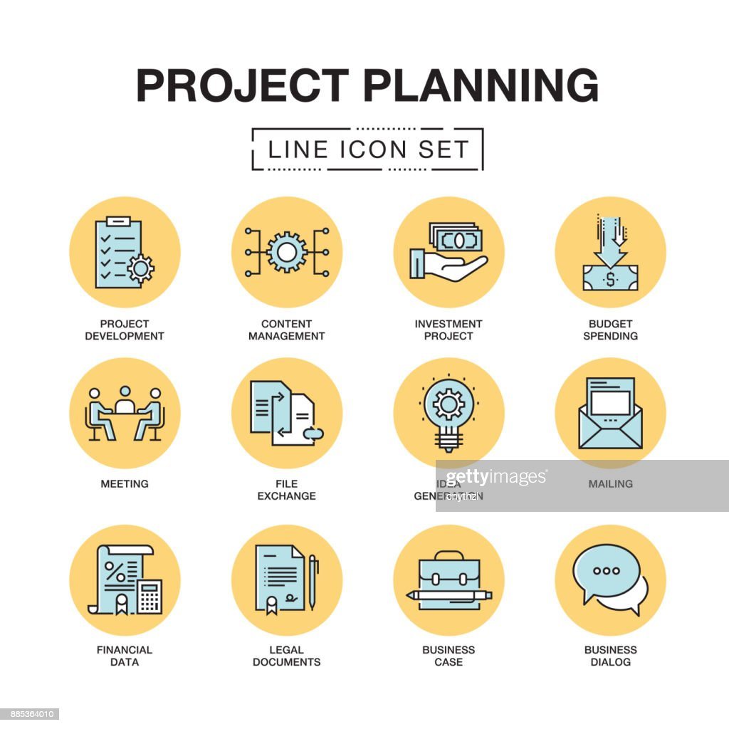 PROJECT PLANNING LINE ICONS SET : stock illustration