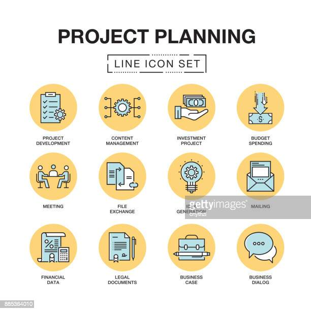 PROJECT PLANNING LINE ICONS SET