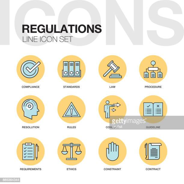 regulations line icons set - office safety stock illustrations, clip art, cartoons, & icons