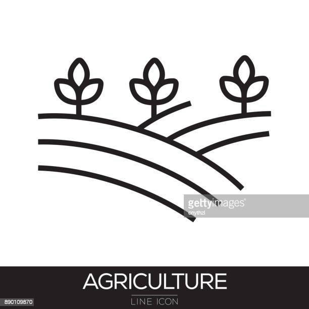 agriculture line icon - harvesting stock illustrations