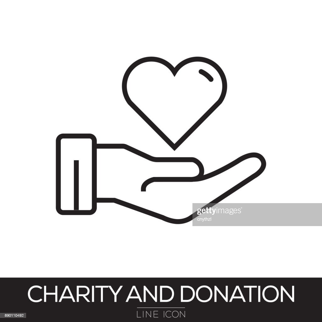CHARITY AND DONATION LINE ICON : stock illustration
