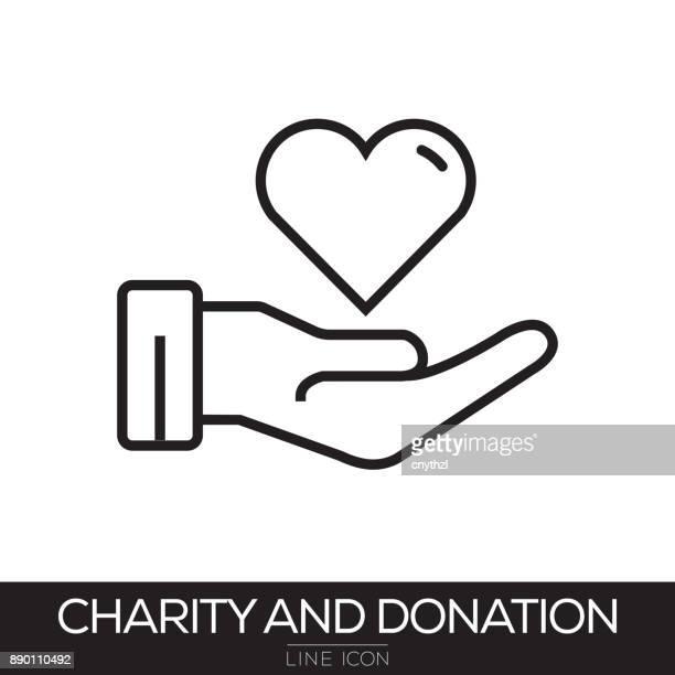 ilustrações, clipart, desenhos animados e ícones de ícone de caridade e doação de linha - relief emotion