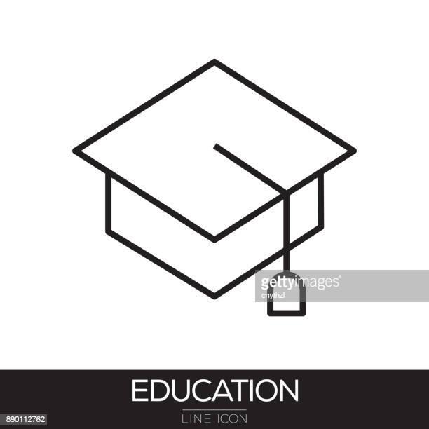 bildung liniensymbol - hochschulstudium stock-grafiken, -clipart, -cartoons und -symbole