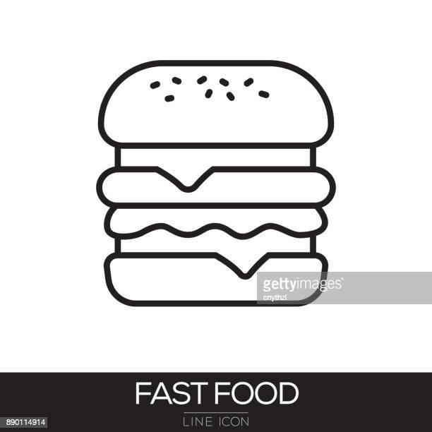 fast food line icon - hamburger stock illustrations, clip art, cartoons, & icons