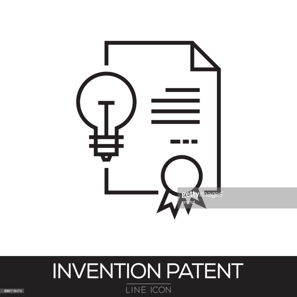 INVENTION PATENT LINE ICON : stock illustration