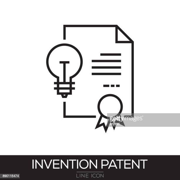 invention patent line icon - legal document stock illustrations, clip art, cartoons, & icons