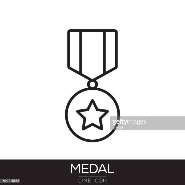 medal line icon - medallion stock illustrations, clip art, cartoons, & icons