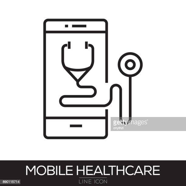 ilustraciones, imágenes clip art, dibujos animados e iconos de stock de icono de salud móvil de la línea - trabajador sanitario
