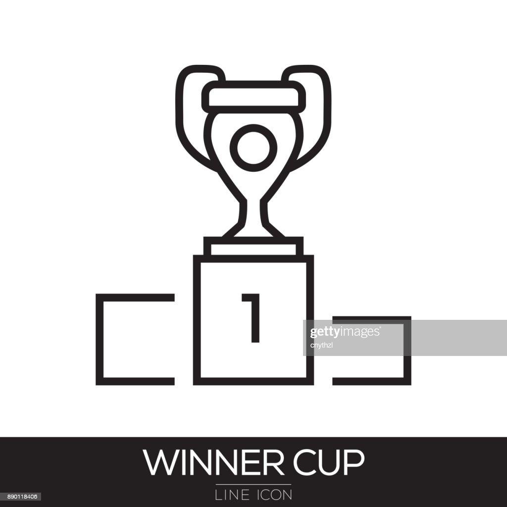 WINNER CUP LINE ICON : stock illustration