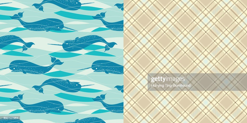 Pattern_Set_Seamless_Narwhal_Allover_Print_Turquoise_Background_Coordinated_Plaid_Pattern