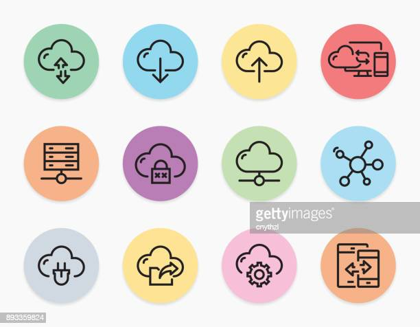 cloud computing line icons - storage room stock illustrations, clip art, cartoons, & icons