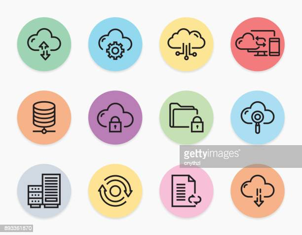 CLOUD HOSTING LINE ICONS