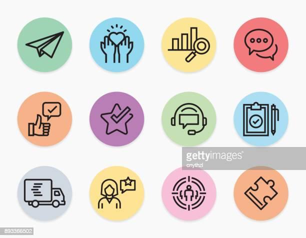 ilustraciones, imágenes clip art, dibujos animados e iconos de stock de al cliente relación línea iconos - lealtad