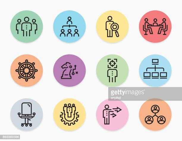 HUMAN RESOURCE MANAGEMENT LINE ICONS SET