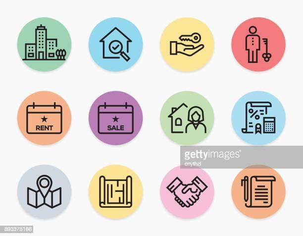 ilustraciones, imágenes clip art, dibujos animados e iconos de stock de inmobiliaria los iconos juego - propietario de casa