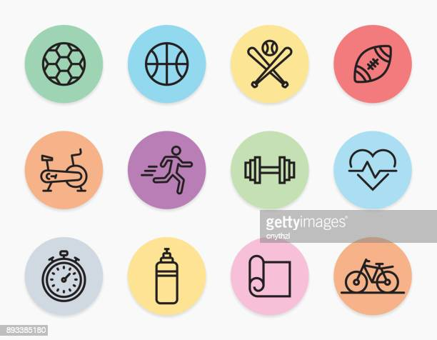 sports and fitness line icons set - cardiovascular exercise stock illustrations, clip art, cartoons, & icons