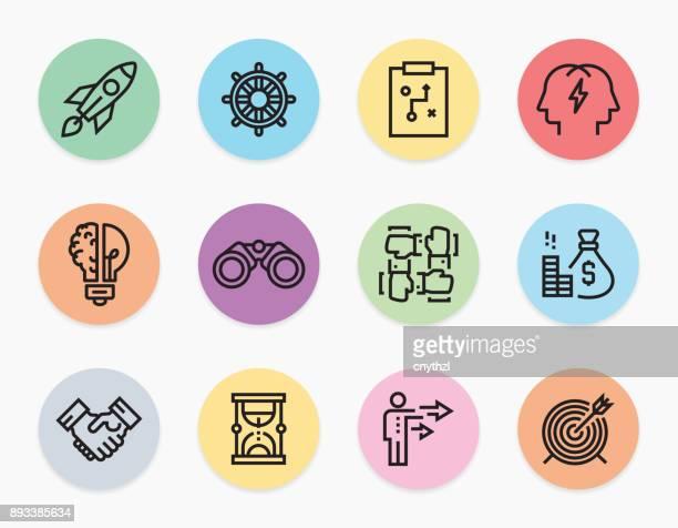 start up line icons set - stadtplan stock illustrations