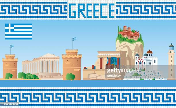 greece skyline - greek islands stock illustrations, clip art, cartoons, & icons