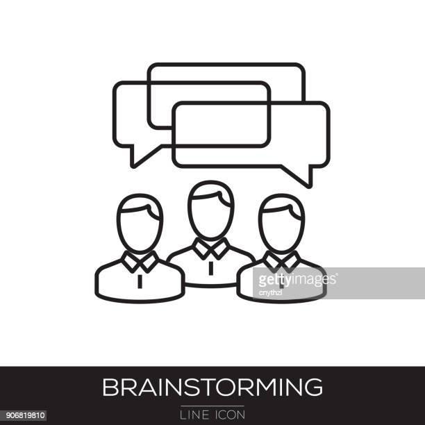 brainstorming line icon - plant bulb stock illustrations