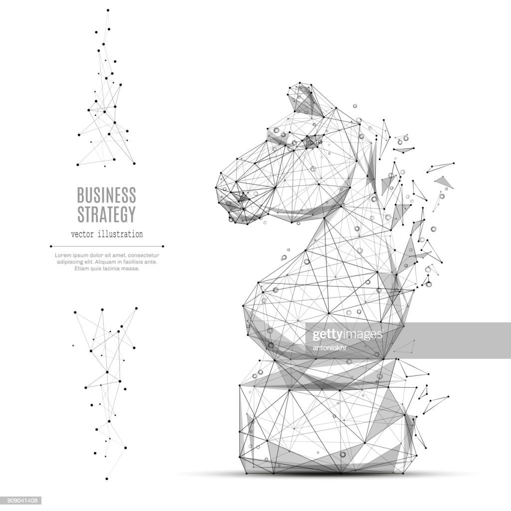 CHESS HORSE LOW POLY BLUE