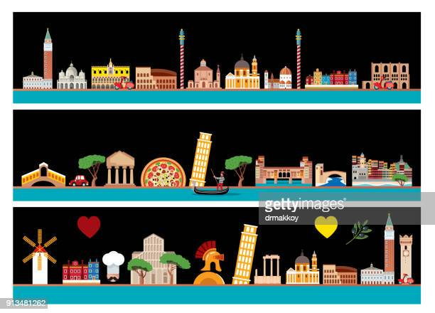 italy skyline - venice italy stock illustrations, clip art, cartoons, & icons