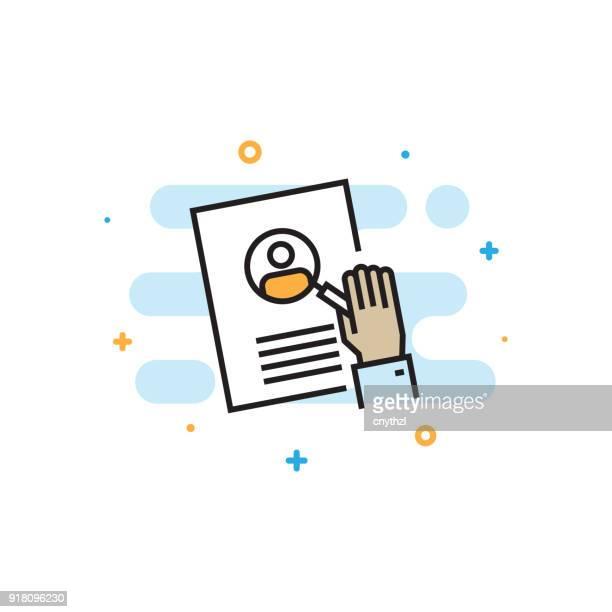 recruitment flat line icon - resume stock illustrations