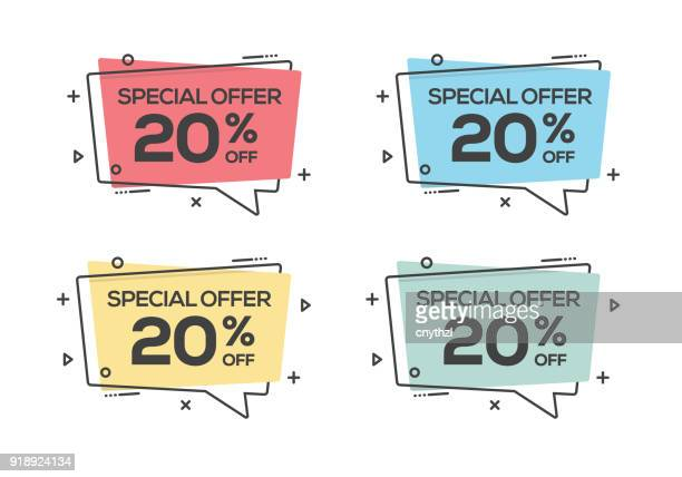 special offer twenty percent off web banner - consumerism stock illustrations