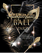 MASQUERADE PARTY INVITATION CARD WITH CARNIVAL DECO OBJECTS. GOLD AND BLACK. VECTOR ILLUSTRATION