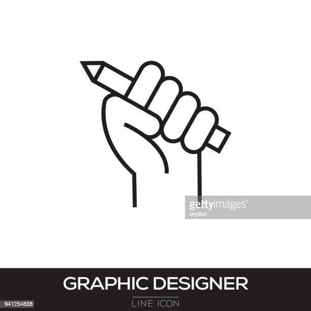 illustrations, cliparts, dessins animés et icônes de ligne de concepteur graphique icône - graphiste