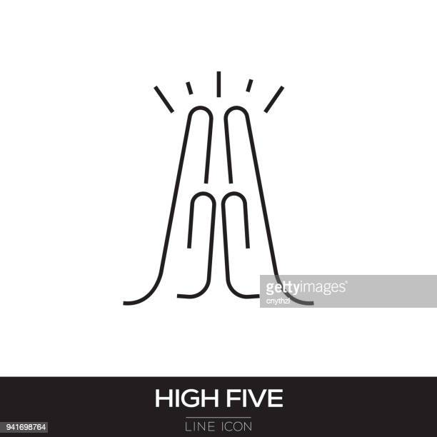 HIGH FIVE LINE ICON
