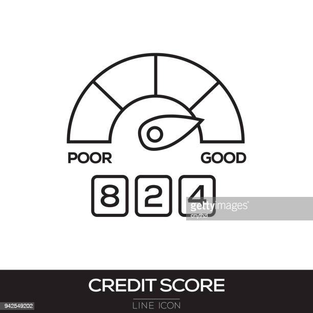 credit score line icon - fund manager stock illustrations, clip art, cartoons, & icons