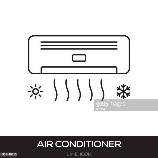 ilustraciones, imágenes clip art, dibujos animados e iconos de stock de icono de línea de aire acondicionado - aparato de aire acondicionado