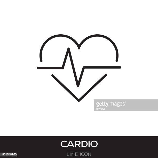 cardio line icon - cardiovascular exercise stock illustrations, clip art, cartoons, & icons
