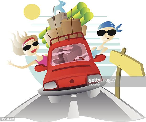 viaje en coche - viaje stock illustrations, clip art, cartoons, & icons