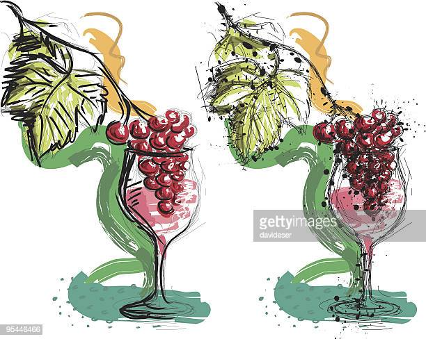 copa de vino con uvas - red wine stock illustrations, clip art, cartoons, & icons
