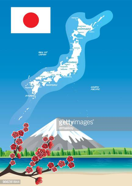 japan map - hokkaido stock illustrations, clip art, cartoons, & icons