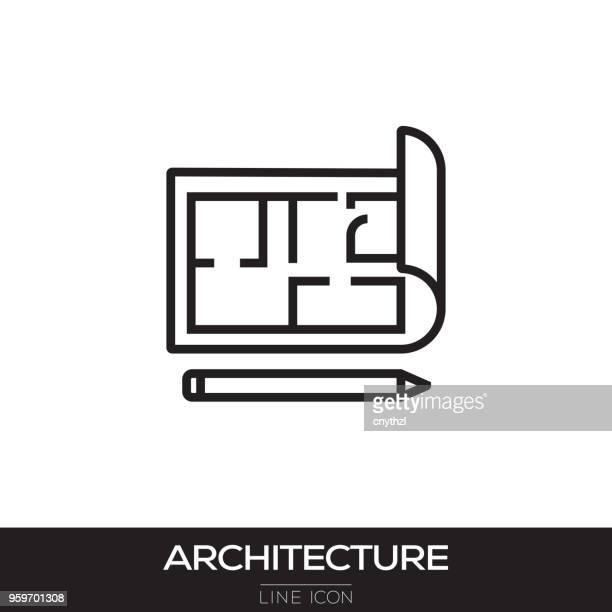 architecture line icon - architect stock illustrations