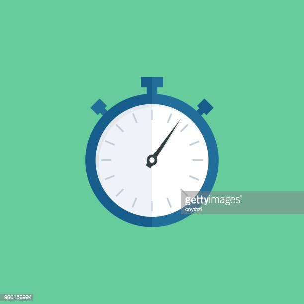 ilustrações, clipart, desenhos animados e ícones de choronometre plana ícone - cronômetro instrumento para medir o tempo