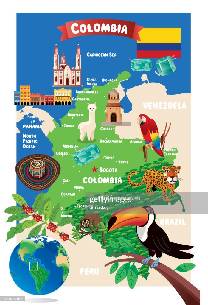 CARTOON MAP OF COLOMBIA : stock illustration