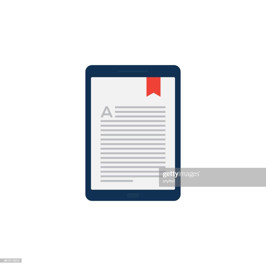 E-BOOK FLAT ICON : stock illustration