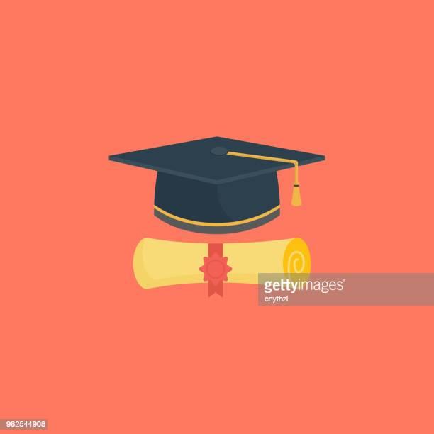 graduation flat icon - diploma stock illustrations