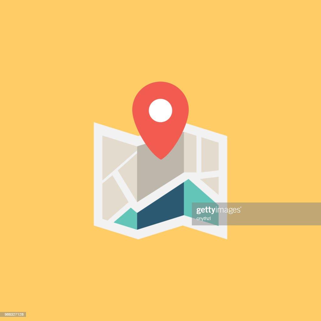 CITY MAP FLAT ICON : Stock Illustration