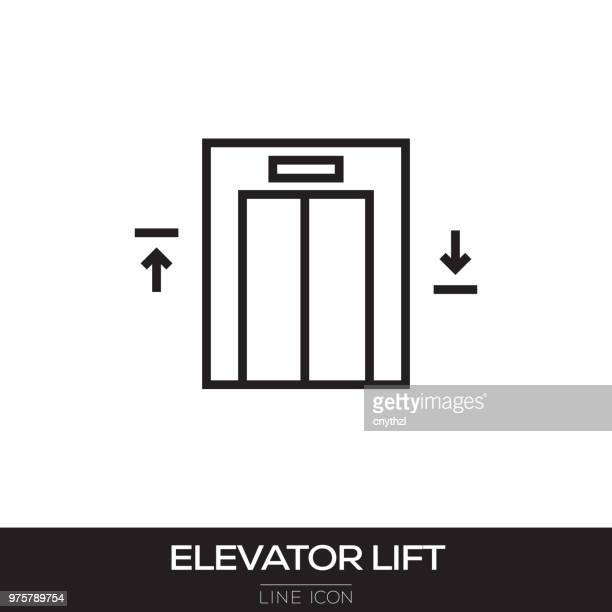elevator lift line icon - picking up stock illustrations