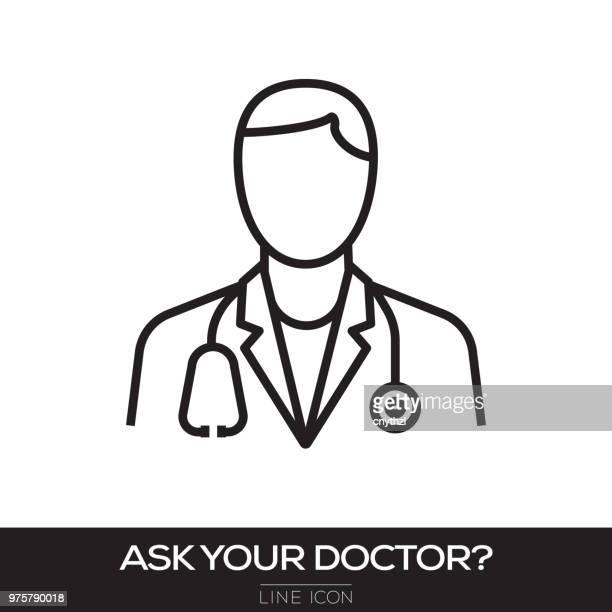 医師コンセプト ライン アイコンを求める