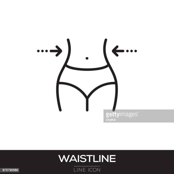 waistline line icon - letrac stock illustrations